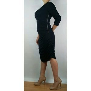 GAP Dresses - Gap black dress ruched draped contrast zipper XL